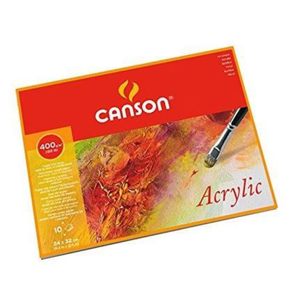 CANSON ACRILICO  24x32 cm 400 g/mq  GR. FINE  BLOCCO 10 FG  PER ACRILICI