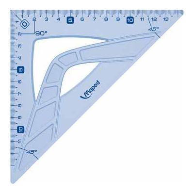 Maped 242426 squadra Triangolo a 45° Plastica Blu, Traslucido