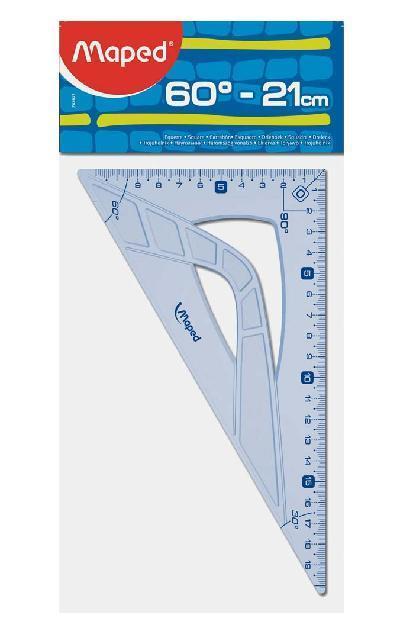 Maped 242621 squadra Triangolo a 60° Plastica Blu, Traslucido
