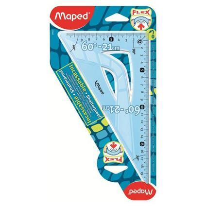Maped Flex Triangolo a 60° Plastica Blu, Traslucido