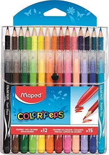 Maped Color Peps Pennarelli X12 + Pastelli Colorati X15