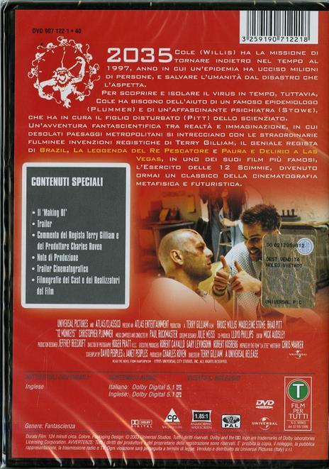 L' esercito delle 12 scimmie di Terry Gilliam - DVD - 2
