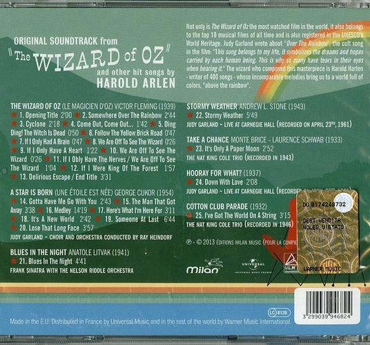 The Wizard of Oz and Other Hit Songs By Harold Arlen (Colonna sonora) - CD Audio di Harold Arlen - 2