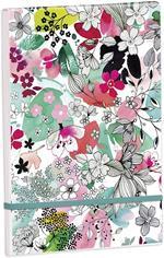 Blocco shopping Clairefontaine Blooming, 8 x 11,5 cm, 50 fogli, pagine bianche, chiusura elastica, assortito