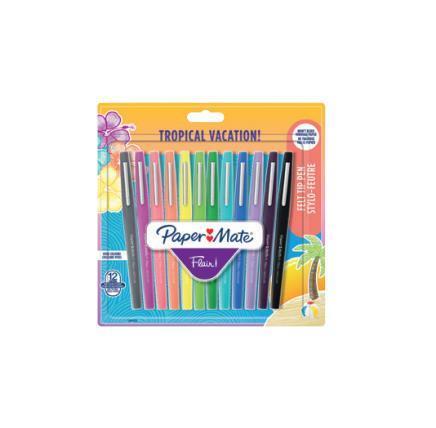 Penna Papermate Flair-Nylon Tropical Vacation Colori Assortiti - Blister da 12 - 2