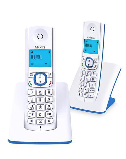 Alcatel F530 Telefono DECT Blu, Bianco Identificatore di chiamata