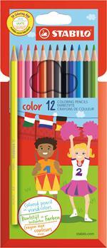 Pastelli STABILO Color. Confezione in cartone 12 matite colorate (con FLUO)