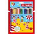 Pastelli STABILO Trio Thick. Confezione in cartone 18 matite colorate + temperino