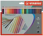 Pastelli STABILO aquacolor. Scatola in cartone 36 matite colorate acquerellabili