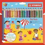 Pastelli STABILO Trio Thick. Confezione in cartone 24 matite colorate + temperino