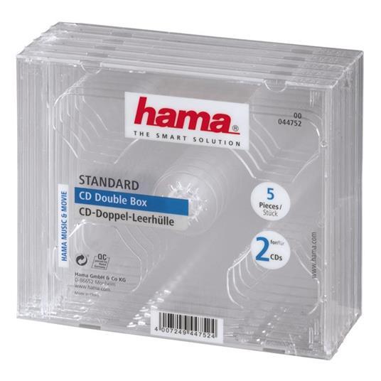 Hama CD Double Jewel Case, Pack 5 2 dischi Trasparente