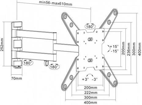 """Equip 650105 supporto da parete per tv a schermo piatto 139,7 cm (55"""") Nero - 2"""
