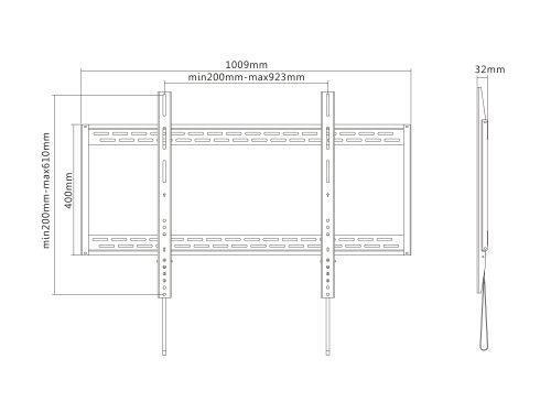 """Equip 650323 supporto da parete per tv a schermo piatto 2,54 m (100"""") Nero - 4"""