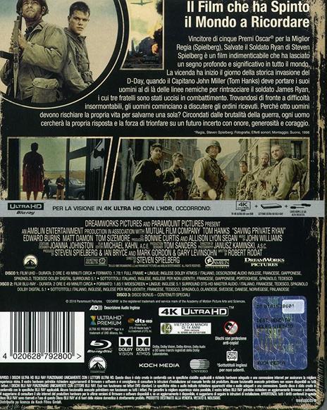 Salvate il soldato Ryan. Steelbook (2 Blu-ray + Blu-ray Ultra HD 4K) di Steven Spielberg - Blu-ray + Blu-ray Ultra HD 4K - 2