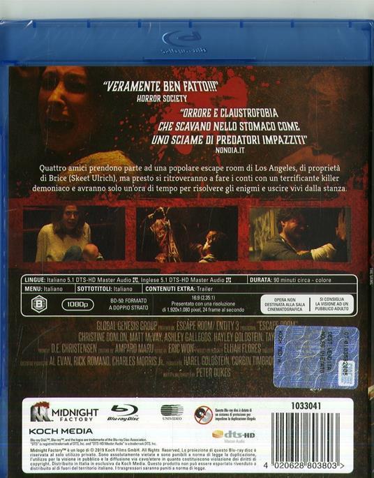 Escape Room. The Game (Blu-ray) di Peter Dukes - Blu-ray - 2