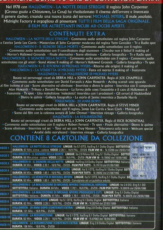 Cofanetto Halloween Film Collection (11 DVD) di John Carpenter,Steve Miner,Tommy Lee Wallace,Dwight H. Little,Rick Rosenthal,Joe Chappelle,Dominique Othenin-Girard - 3