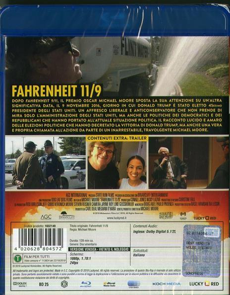 Fahrenheit 11/9 (Blu-ray) di Michael Moore - Blu-ray - 2