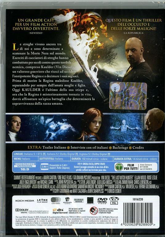 The Last Witch Hunter. L'ultimo cacciatore di streghe di Breck Eisner - DVD - 2