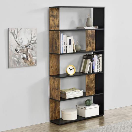 Libreria a 5 Ripiani 159 x 80 x 23,5 cm Scaffale in Design Moderno Mobile Divisorio Portaoggetti/Organizzatore per Soggiorno Nero/Effetto Legno Scuro