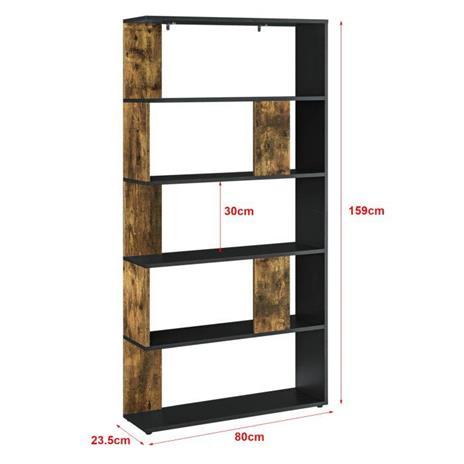 Libreria a 5 Ripiani 159 x 80 x 23,5 cm Scaffale in Design Moderno Mobile Divisorio Portaoggetti/Organizzatore per Soggiorno Nero/Effetto Legno Scuro - 2