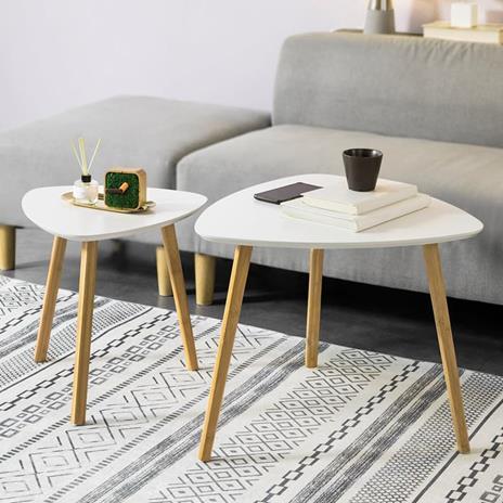 Set Di 2 Tavolini Bassi Da Salotto In Legno Di Bambù Massello E Mdf