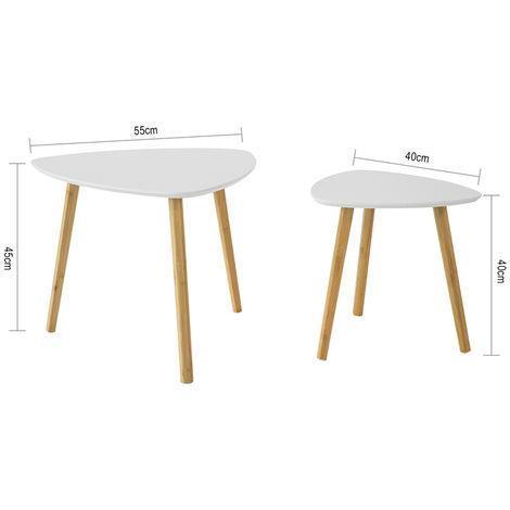Set Di 2 Tavolini Bassi Da Salotto In Legno Di Bambù Massello E Mdf - 2