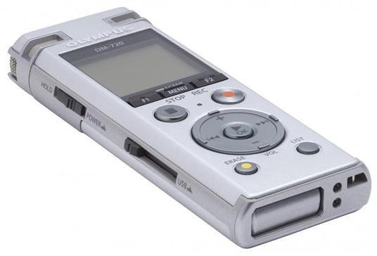 Registratore Olympus DM-720 Memoria interna cheda di memoria Argento dittafono - 7