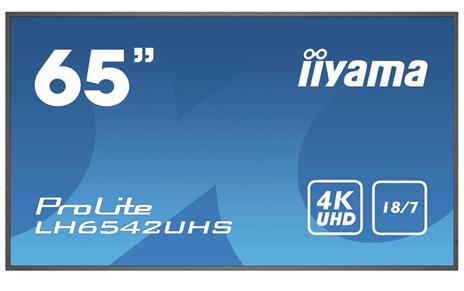 """iiyama LH6542UHS-B1 visualizzatore di messaggi Pannello piatto per segnaletica digitale 163,8 cm (64.5"""") IPS 4K Ultra HD Nero Processore integrato Android 8.0"""