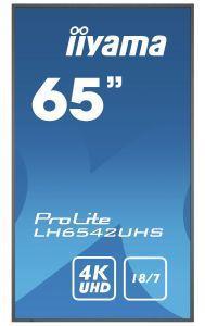 """iiyama LH6542UHS-B1 visualizzatore di messaggi Pannello piatto per segnaletica digitale 163,8 cm (64.5"""") IPS 4K Ultra HD Nero Processore integrato Android 8.0 - 10"""