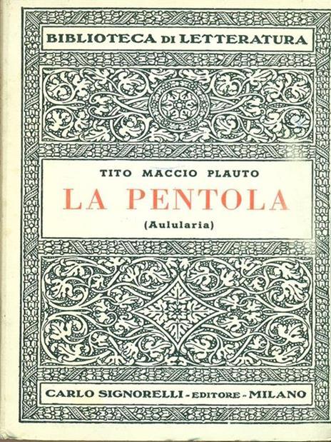 La pentola - T. Maccio Plauto - copertina