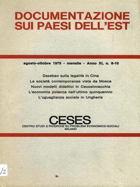 Documentazione sui paesi dell'Est. N. 8/10 Agosto ottobre 1975 - copertina