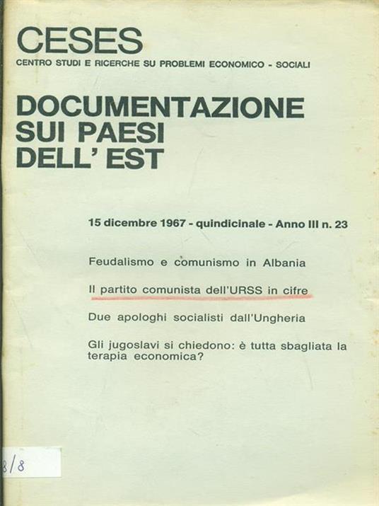 Documenti sui paesi dell'Est Anno III n. 23. 1967 - copertina