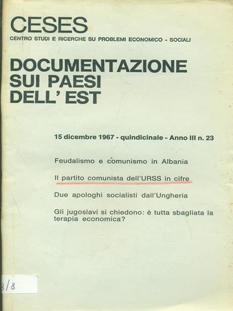 Documenti sui paesi dell'Est Anno III n. 23. 1967 - 8