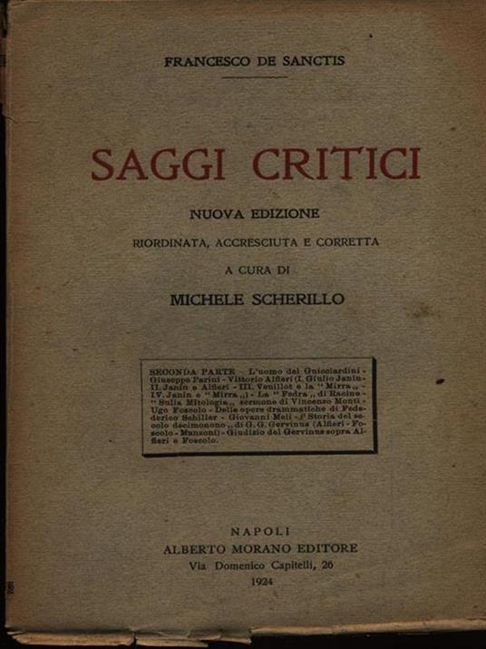 Saggi critici seconda serie - Francesco De Sanctis - copertina