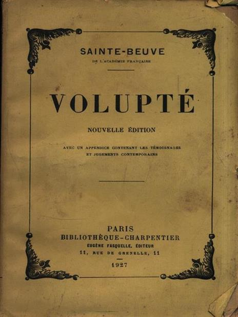 Volupté - Charles A. Sainte-Beuve - copertina