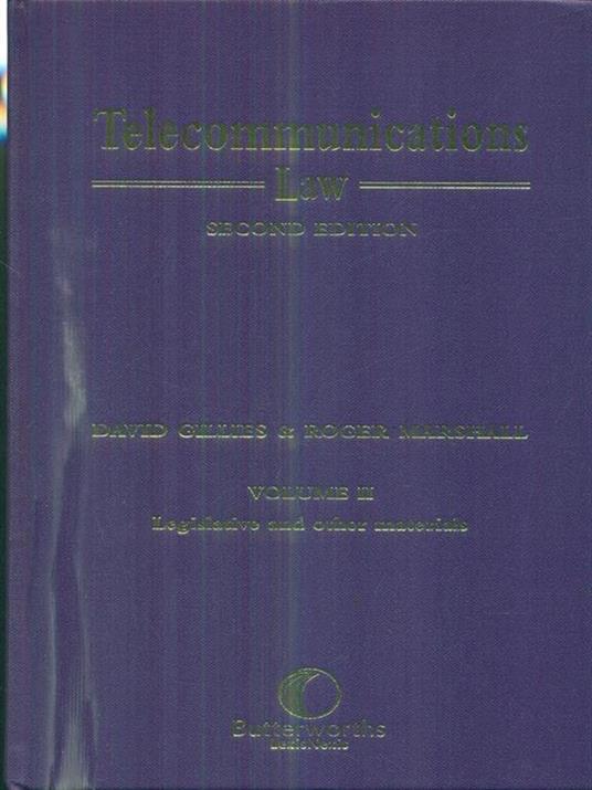 Telecommunications Law. Volume I-II - David Gillies - copertina