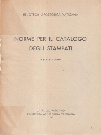 Norme per il catalogo degli stampati - copertina