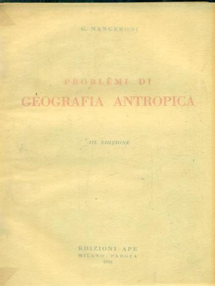Problemi di geografia antropica - L. G. Nangeroni - copertina