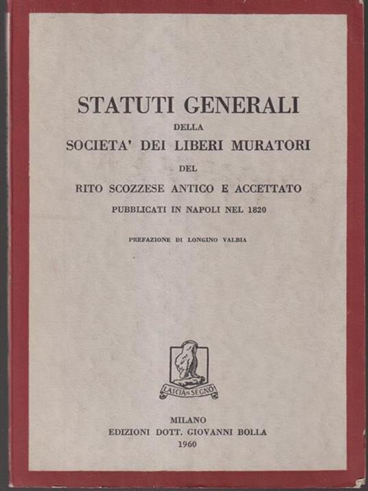 Statuti generali della società dei liberi muratori - copertina