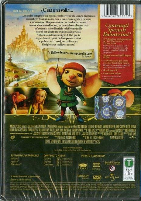 Le avventure del topino Despereaux di Robert Stevenhagen,Sam Fell - DVD - 2