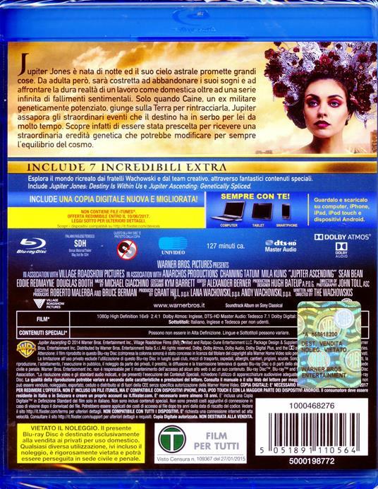 Jupiter. Il destino dell'universo di Andy Wachowski,Lana Wachowski - Blu-ray - 2