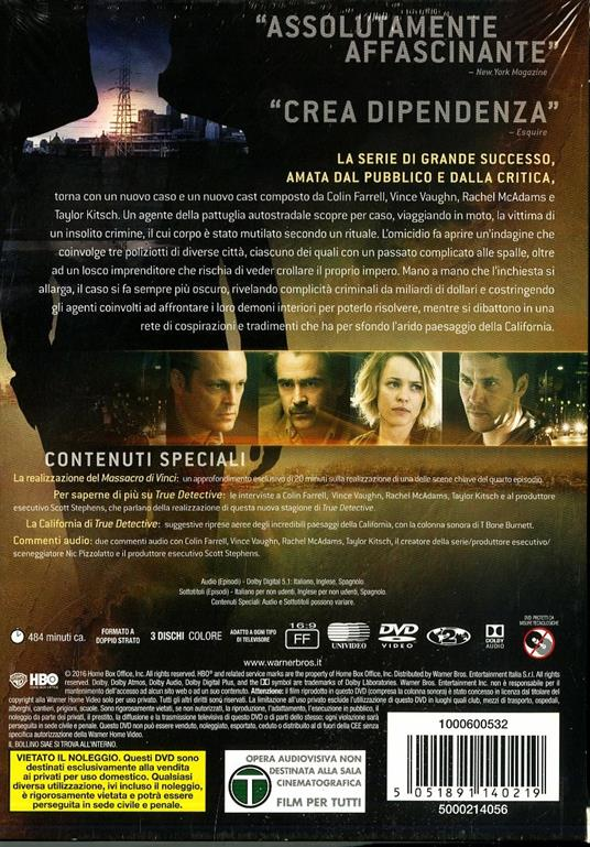 True Detective. Stagione 2. Serie TV ita (3 DVD) di Cary Fukunaga,Justin Lin,Daniel Attias,Janus Metz Pedersen - DVD - 2