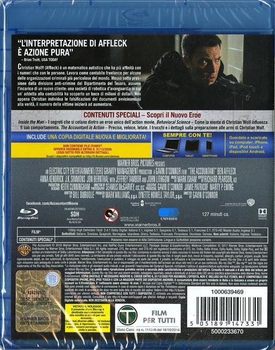 The Accountant (Blu-ray) di Gavin O'Connor - Blu-ray - 2