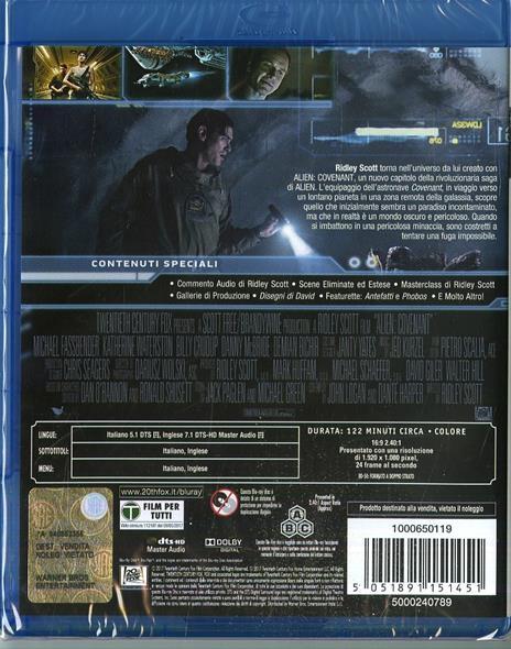 Alien: Covenant (Blu-ray) di Ridley Scott - Blu-ray - 2