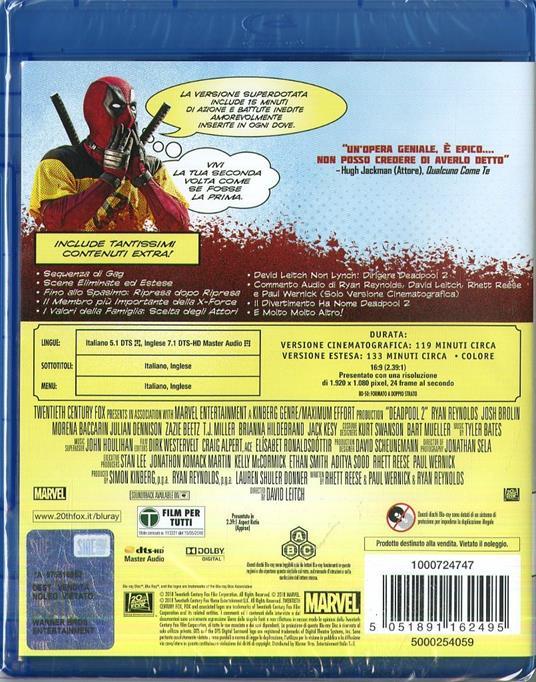 Deadpool 2. Versione superdotata (2 Blu-ray) di David Leitch - Blu-ray - 2