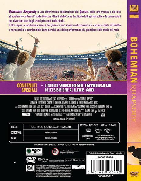 Bohemian Rhapsody (DVD) di Bryan Singer - DVD - 3