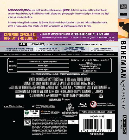 Bohemian Rhapsody (Blu-ray + Blu-ray Ultra HD 4K) di Bryan Singer - Blu-ray + Blu-ray Ultra HD 4K - 2