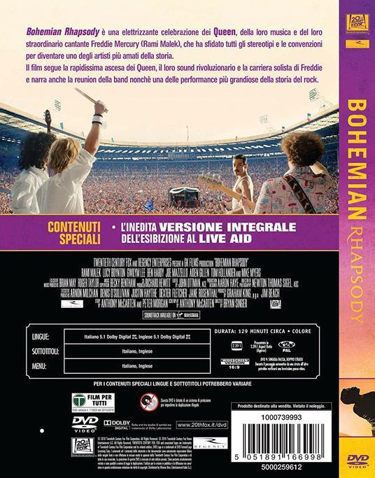 Bohemian Rhapsody. Con Colonna Sonora (DVD) di Bryan Singer - DVD - 2
