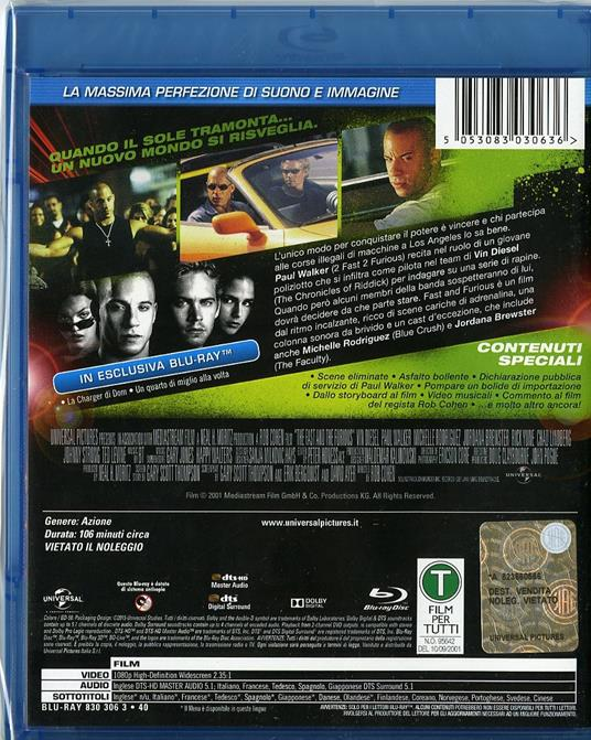 Fast and Furious di Rob Cohen - Blu-ray - 2