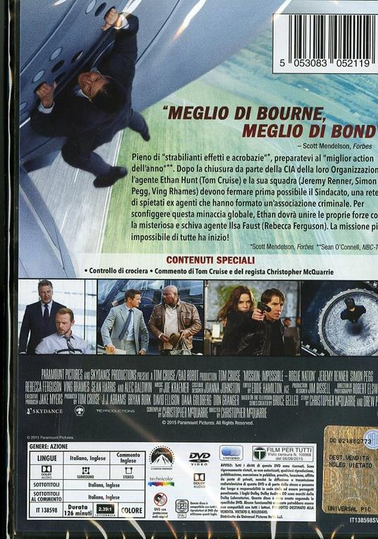 Mission: Impossible. Rogue Nation di Christopher McQuarrie - DVD - 6